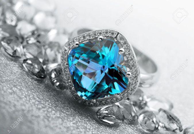 diamond and teal gem